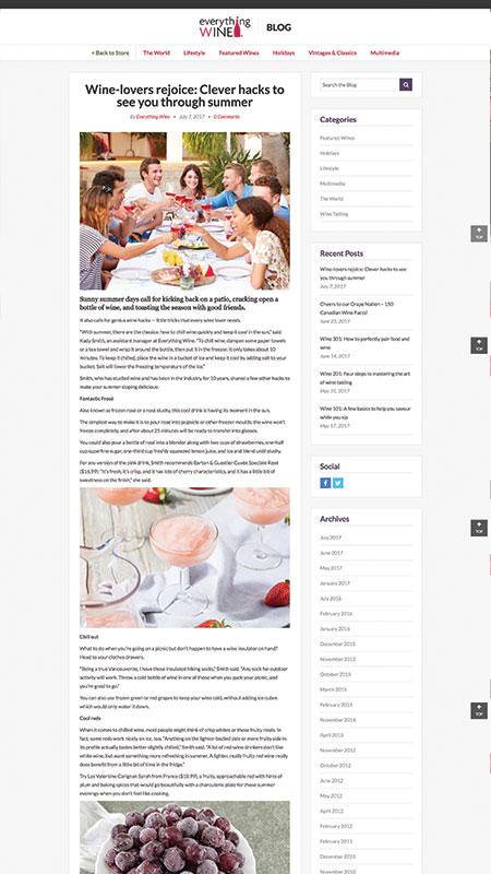 everythingwine, optimizedwebmedia client, website, magento, 2