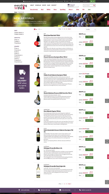 everythingwine, optimizedwebmedia client, website, magento, 4