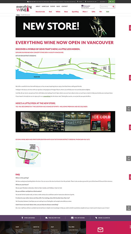 everythingwine, optimizedwebmedia client, website, magento, 7