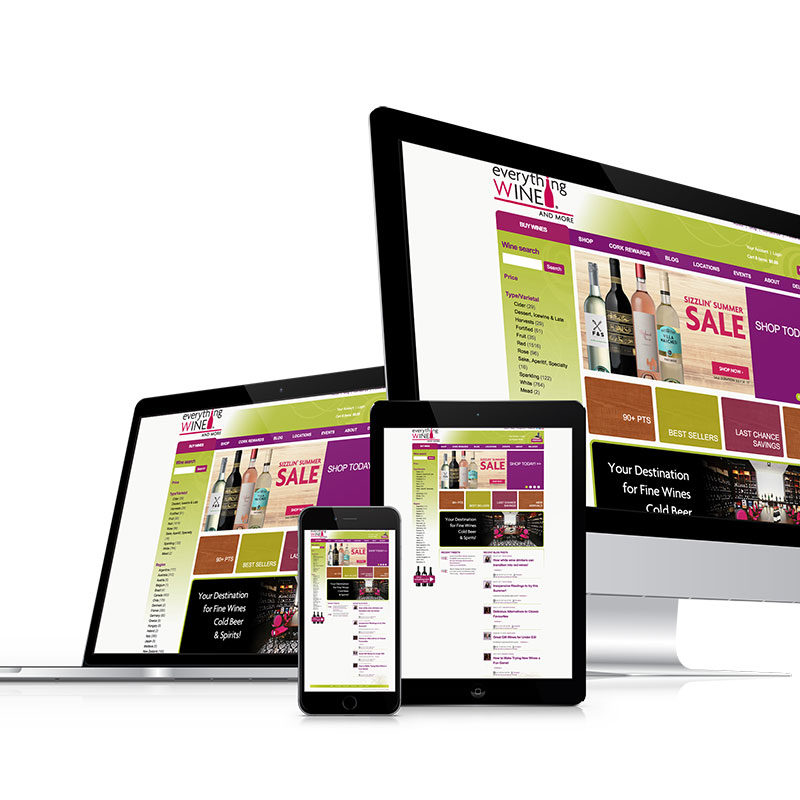 everythingwineandmore, optimizedwebmedia client, website, design, vin65
