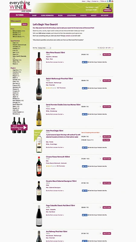 everythingwineandmore, optimizedwebmedia client, website, vin65, 2