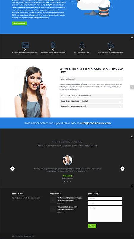 precisionsec, optimizedwebmedia, client, website, wordpress 3